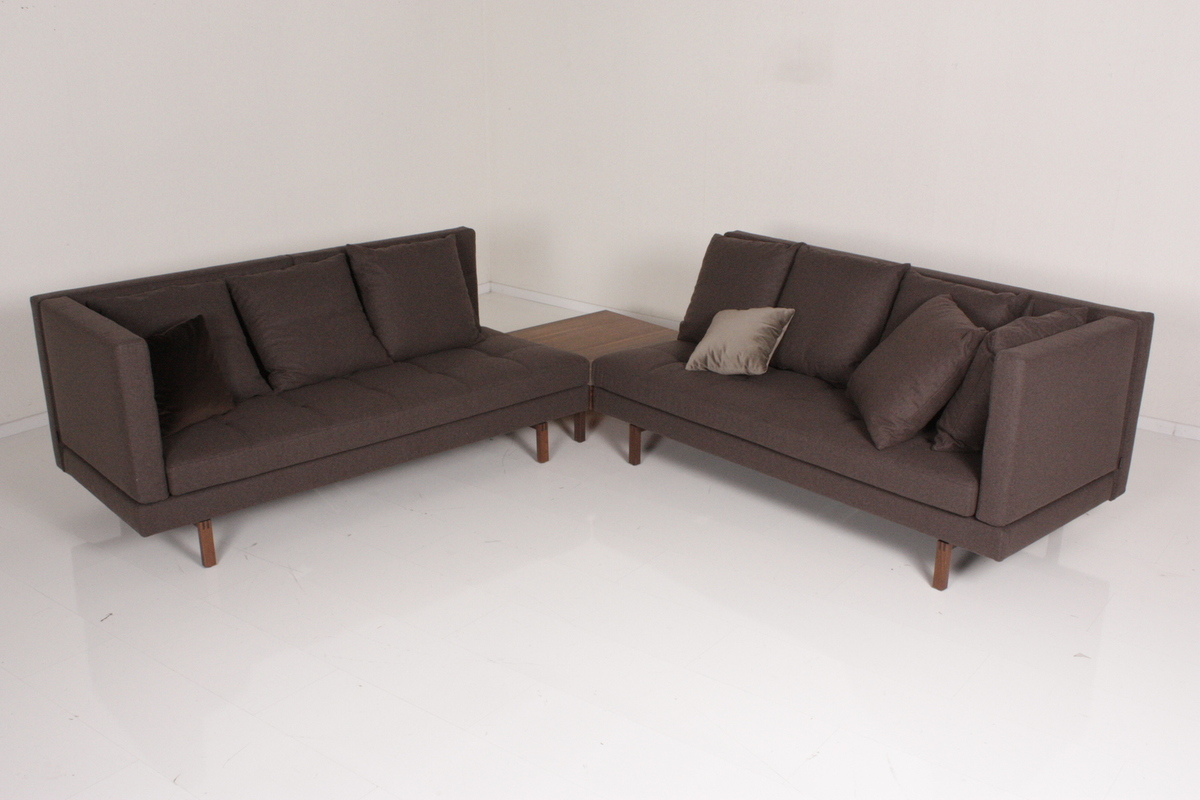 br hl ecksofa amber stoff braun mit beistelltisch ebay. Black Bedroom Furniture Sets. Home Design Ideas