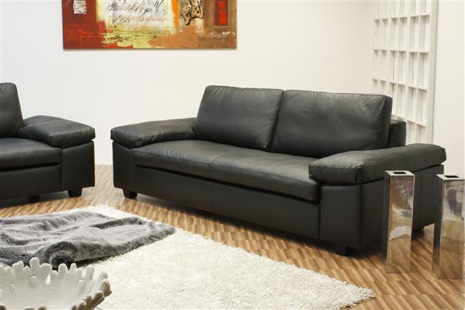 machalke carrera 3er sofa leder savanne schwarz ebay. Black Bedroom Furniture Sets. Home Design Ideas