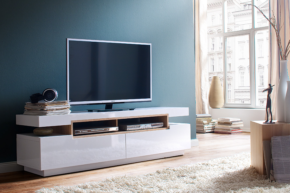 tv board lowboard mammut hochglanz weiss eiche s gera ebay. Black Bedroom Furniture Sets. Home Design Ideas
