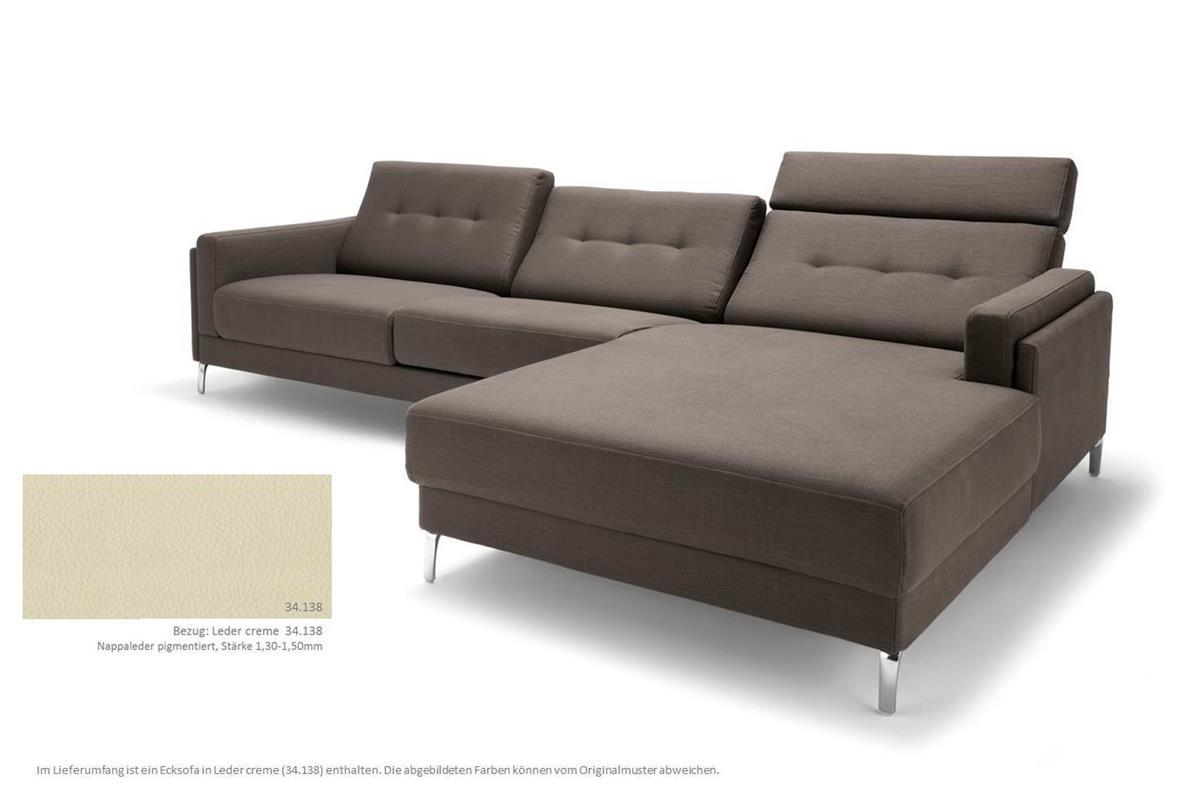 rolf benz ecksofa pronto recamiere rechts leder creme ebay. Black Bedroom Furniture Sets. Home Design Ideas