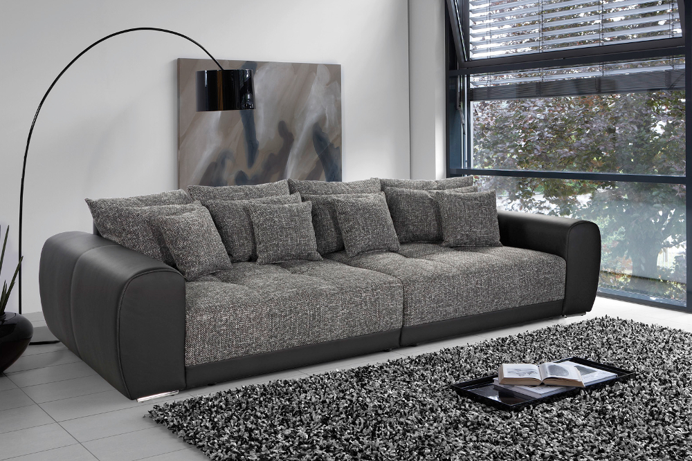 xxl sofa giant lounge kunstleder strukturstoff schwarz couch wohnlandschaft big ebay. Black Bedroom Furniture Sets. Home Design Ideas