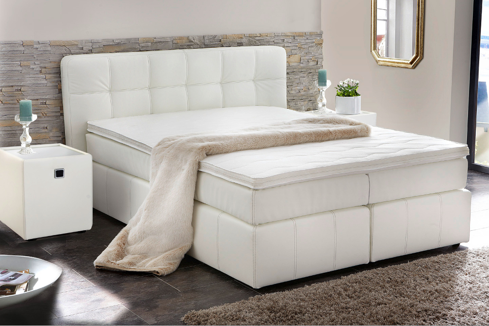 boxspringbett azzurro 180x200cm weiss 2 matratzen hotelbett king size betten ebay. Black Bedroom Furniture Sets. Home Design Ideas