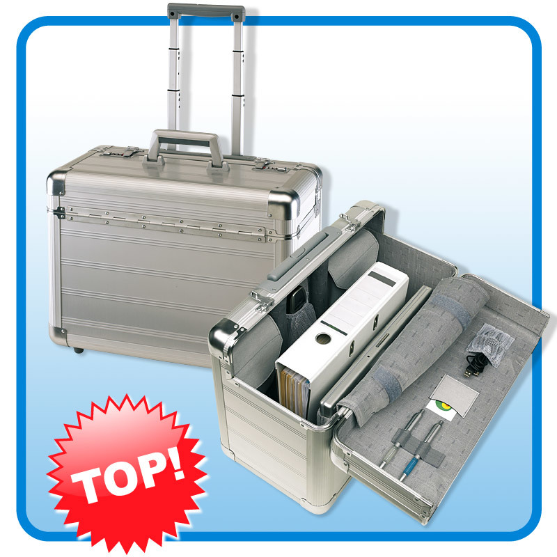 Exquisiter-Alu-Trolley-Pilotenkoffer-Aluminiumtrolley-Office-Laptopfach-NEU
