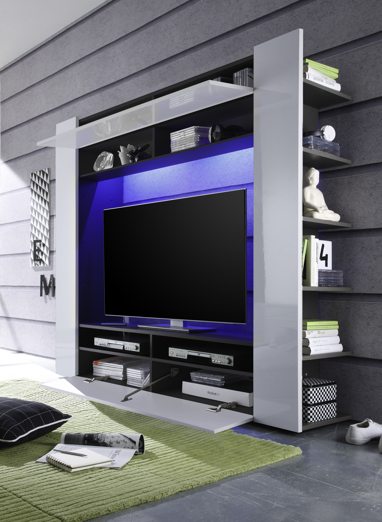 moderne design tv medienwand epic weiss hochglanz anthrazit 185cm fernseh wohnwa ebay. Black Bedroom Furniture Sets. Home Design Ideas