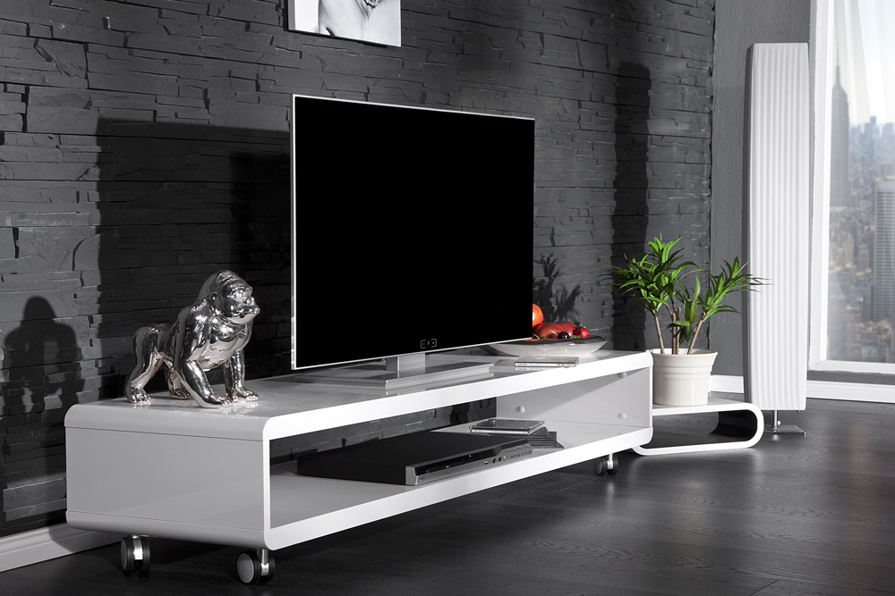 tv board lowboard cast weiss hochglanz fernsehtisch board mit rollen. Black Bedroom Furniture Sets. Home Design Ideas