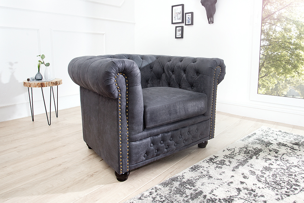 chesterfield sofa antik grau polstersofa sofagarnitur wohnlandschaft couch ebay. Black Bedroom Furniture Sets. Home Design Ideas