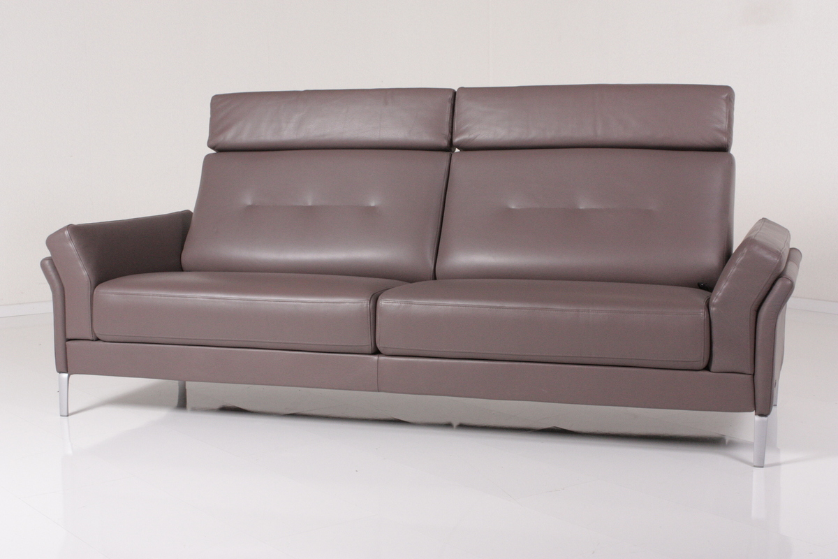 rolf benz sofa pronto leder graubraun ebay. Black Bedroom Furniture Sets. Home Design Ideas