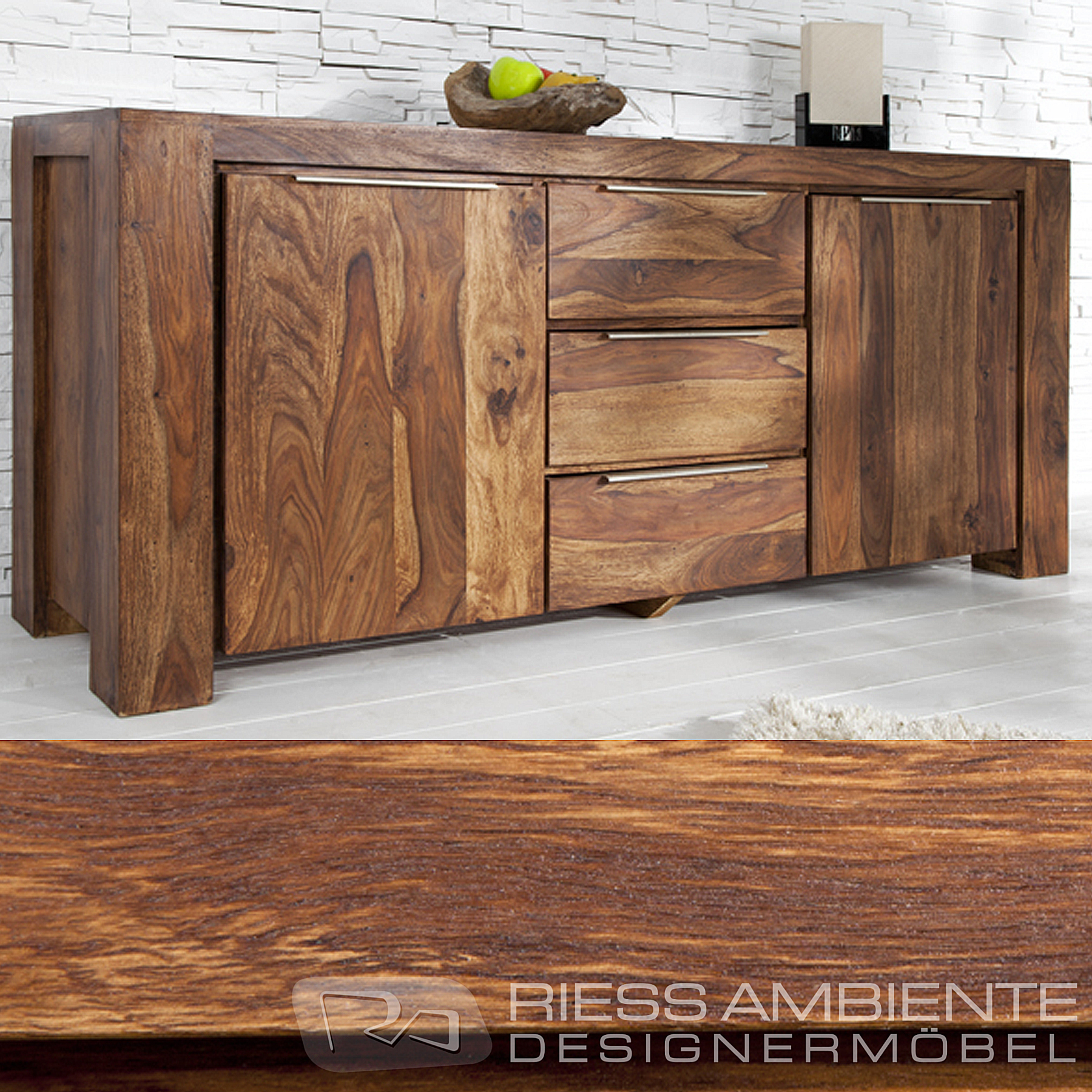 monumentales sideboard giant aus sheesham 180cm kommode massiv holz schrank. Black Bedroom Furniture Sets. Home Design Ideas