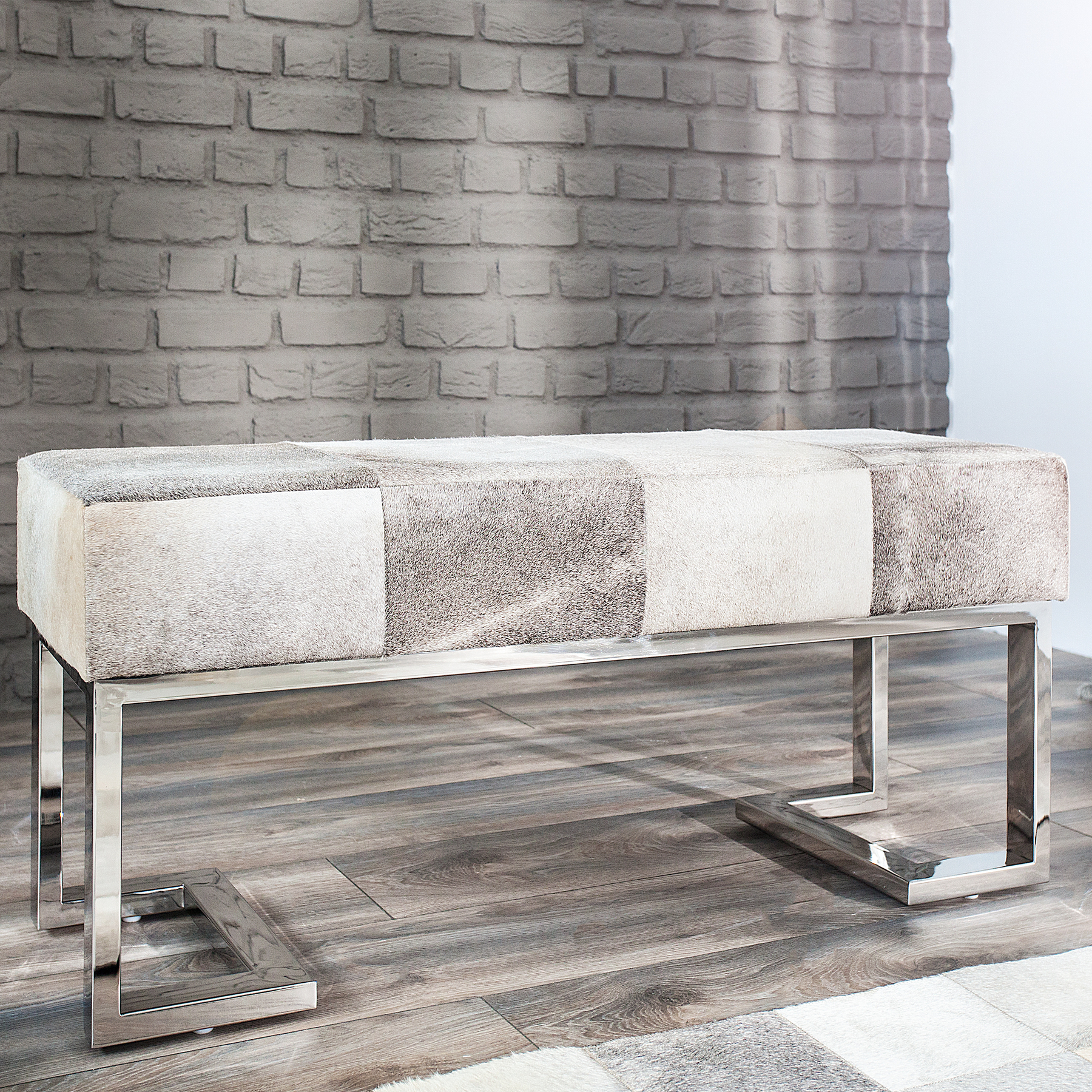 Moderne kuhfell sitzbank patchwork rodeo collection 110cm grau ebay Riess ambiente sofa