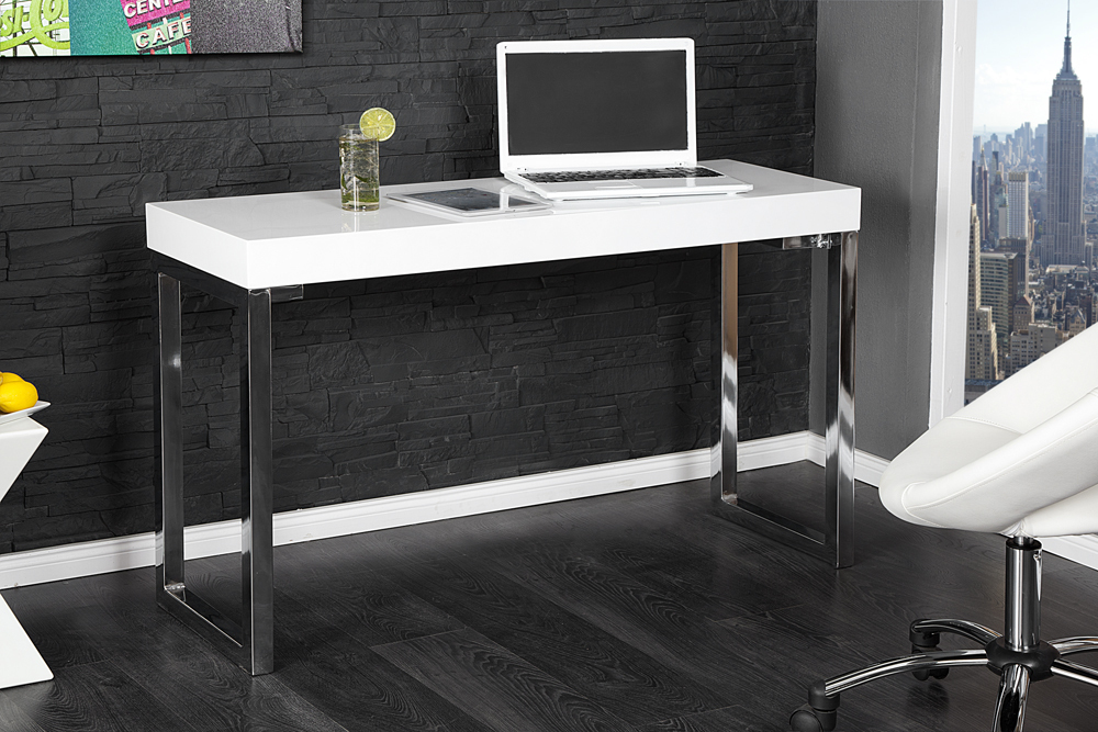 Design laptoptisch white desk 120cm hochglanz weiss for Design laptoptisch