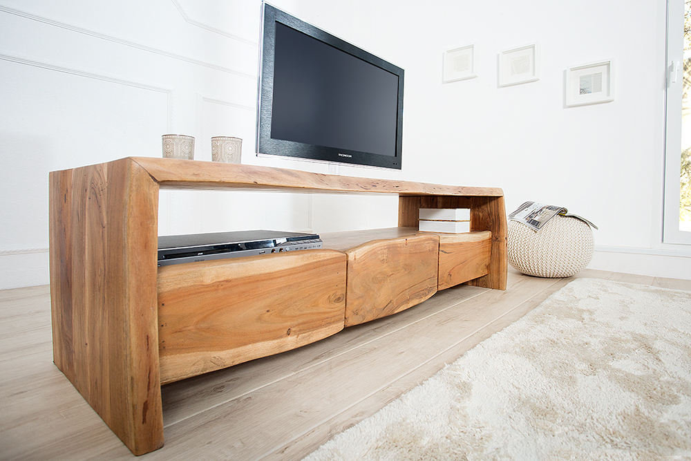 massives baumstamm tv board mammut 160 cm lowboard akazie. Black Bedroom Furniture Sets. Home Design Ideas