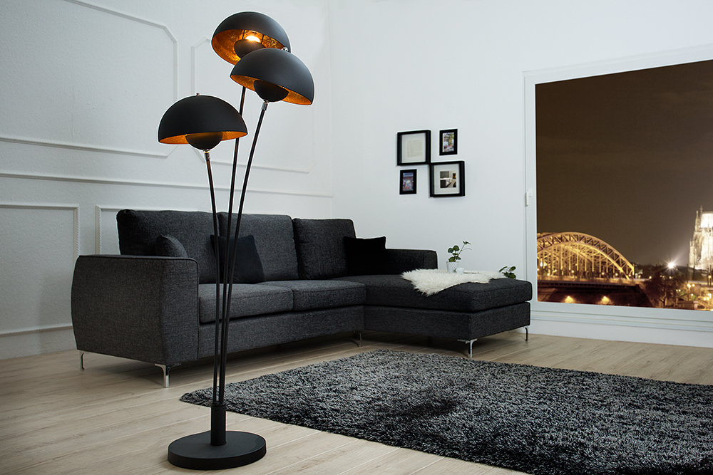 stehlampe studio iii 170cm schwarz gold lampe blattgold optik stehleuchte lampen ebay. Black Bedroom Furniture Sets. Home Design Ideas