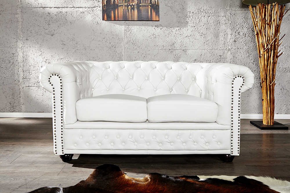 Chesterfield Lounge Sessel ~ Chesterfield sofa oder sessel weiss nieten couch