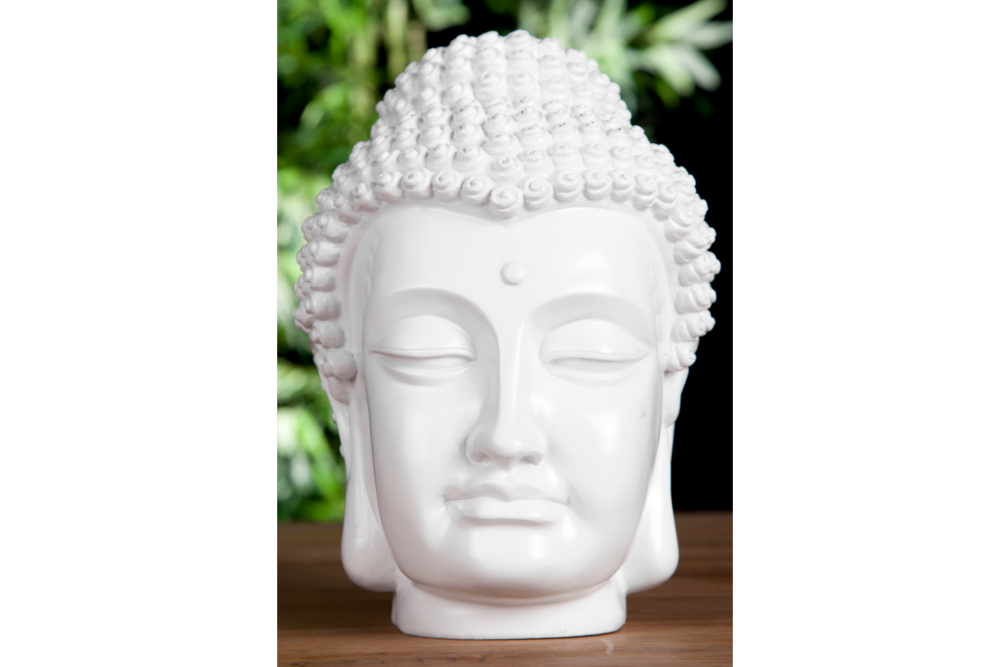 design buddha kopf highgloss weiss skulptur deko accessoire asia deko ebay. Black Bedroom Furniture Sets. Home Design Ideas