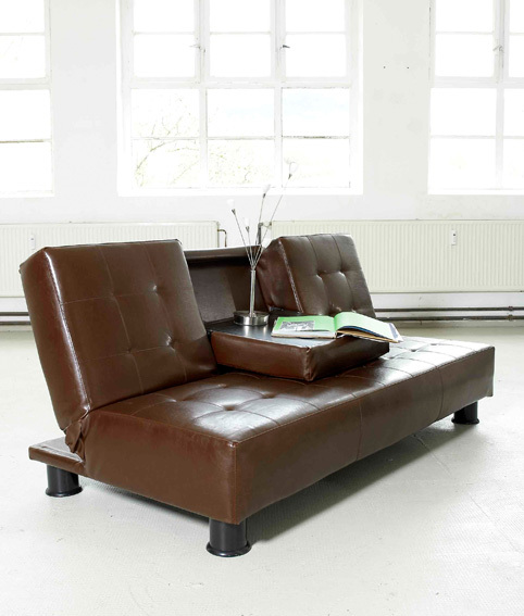 schlafsofa bettsofa bett loft ledertex dunkelbraun ebay. Black Bedroom Furniture Sets. Home Design Ideas