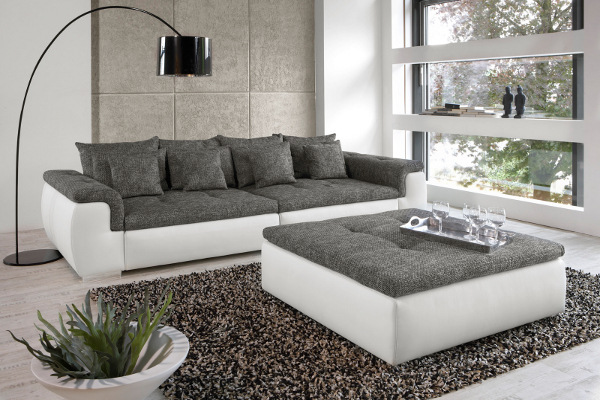 design xxl sofa big point weiss strukturstoff anthrazit couch riesen sofa ebay. Black Bedroom Furniture Sets. Home Design Ideas
