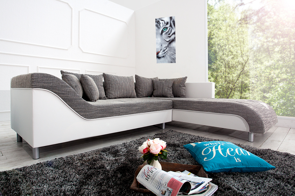 stylisches ecksofa wave wei strukturstoff grau ot rechts eckcouch sofa ebay. Black Bedroom Furniture Sets. Home Design Ideas