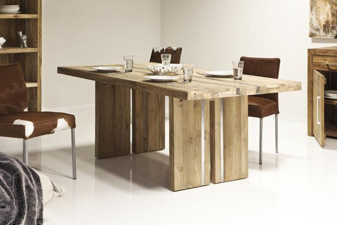 kasper wohndesign esstisch steel aus recyceltem teakholz gr e w hlbar ebay. Black Bedroom Furniture Sets. Home Design Ideas