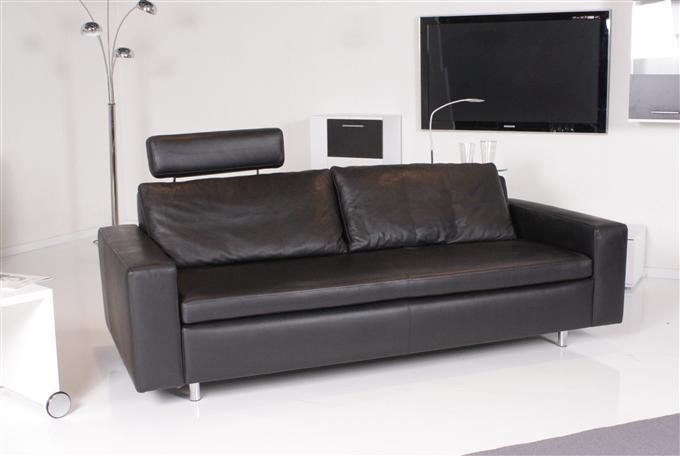 machalke lucio 3er sofa leder comfort schwarz ebay. Black Bedroom Furniture Sets. Home Design Ideas
