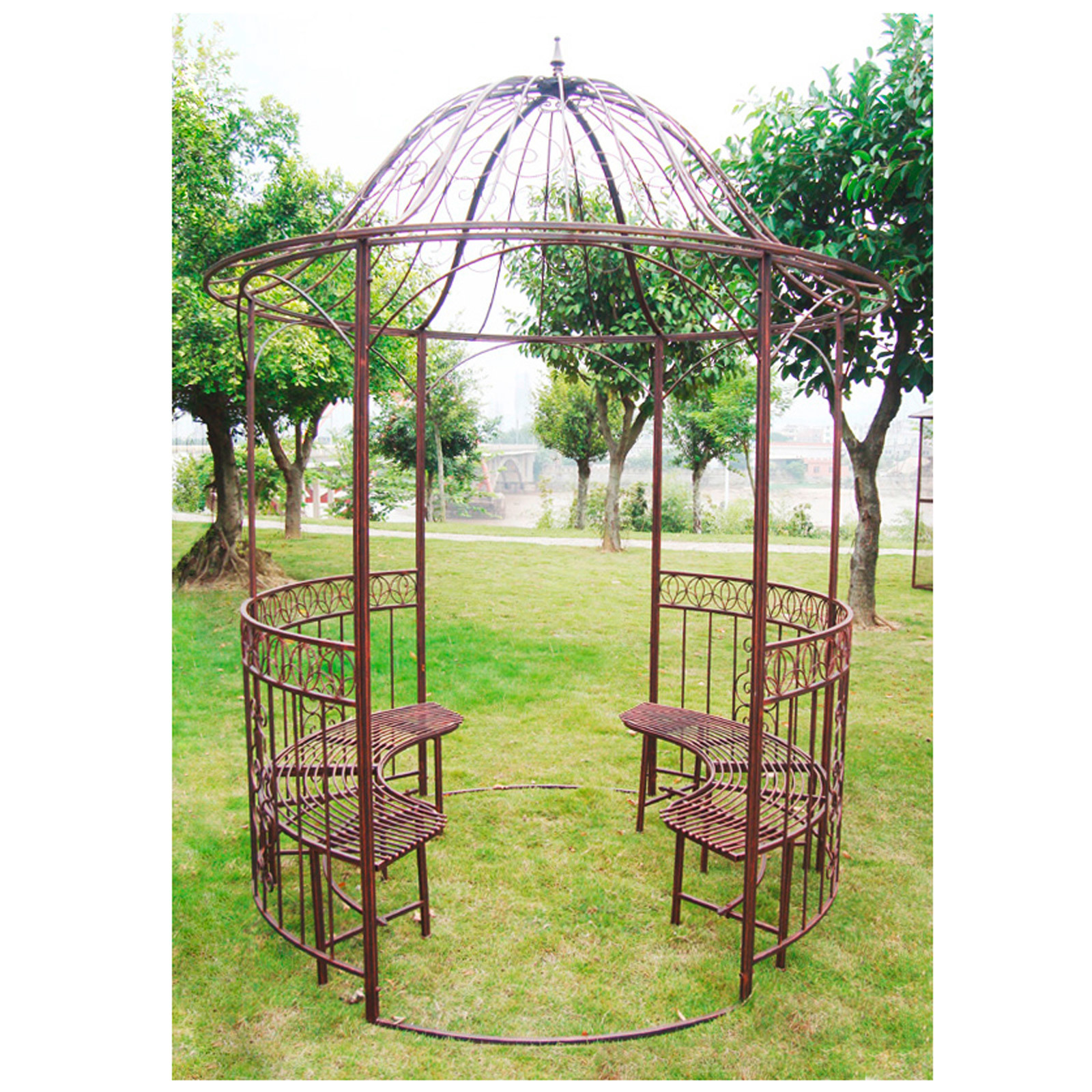 metall pavillon garten rosenpavillon rankgitter mit bank antik kupfer look ebay. Black Bedroom Furniture Sets. Home Design Ideas