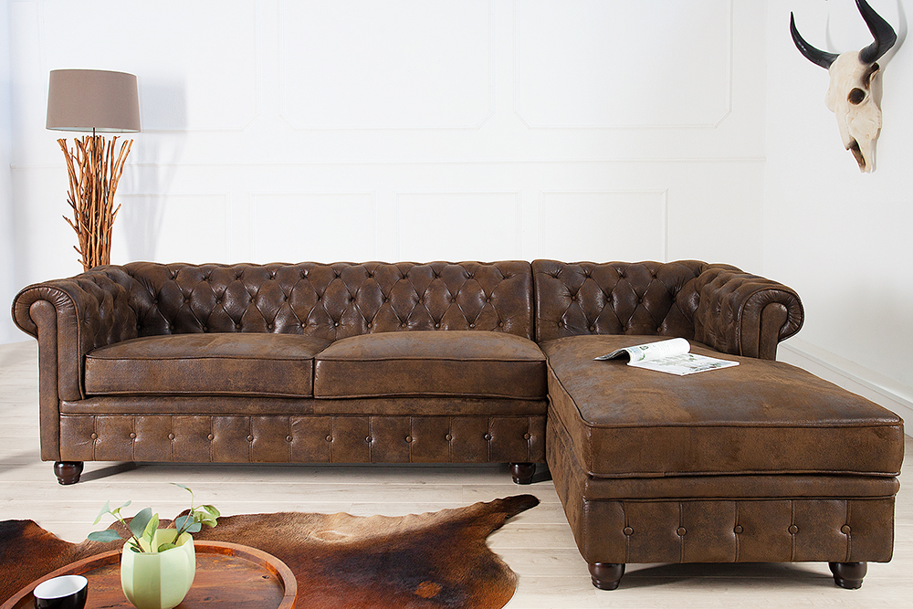 edles chesterfield ecksofa im antik look ot rechts eckcouch couch sofas ebay. Black Bedroom Furniture Sets. Home Design Ideas