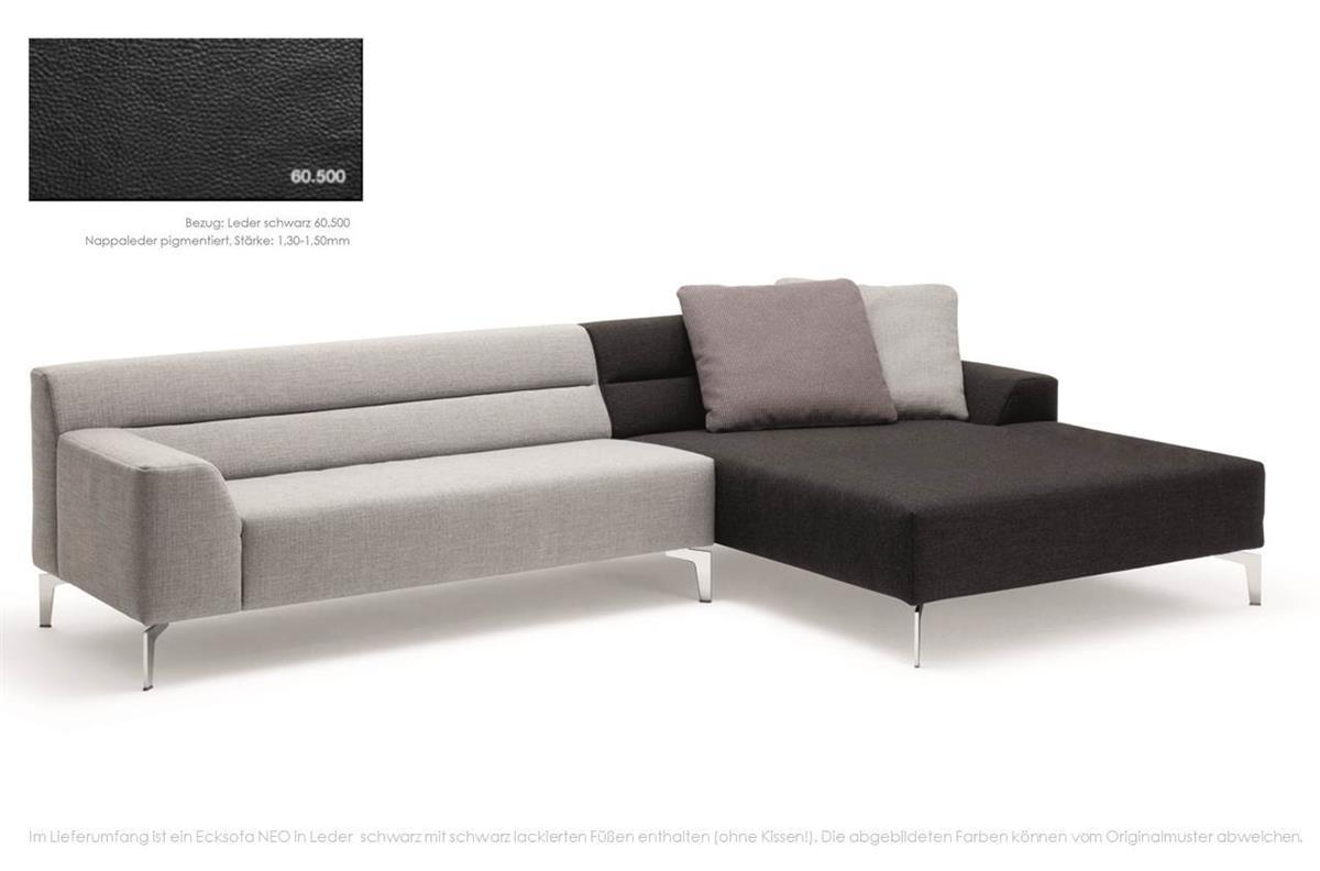 rolf benz sofa neo ecksofa recamiere rechts leder schwarz ebay. Black Bedroom Furniture Sets. Home Design Ideas