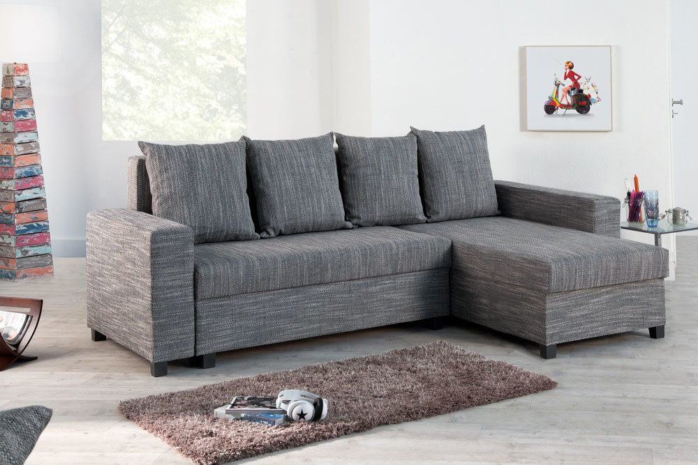 design ecksofa compact strukturstoff hellgrau mit schlaffunktion schlafsofa ebay. Black Bedroom Furniture Sets. Home Design Ideas
