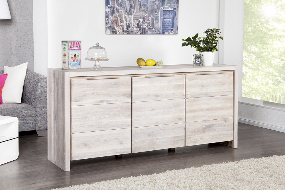 massives sideboard odin raw 180cm wildeiche wei gek lkt 3 t rige kommode ebay. Black Bedroom Furniture Sets. Home Design Ideas