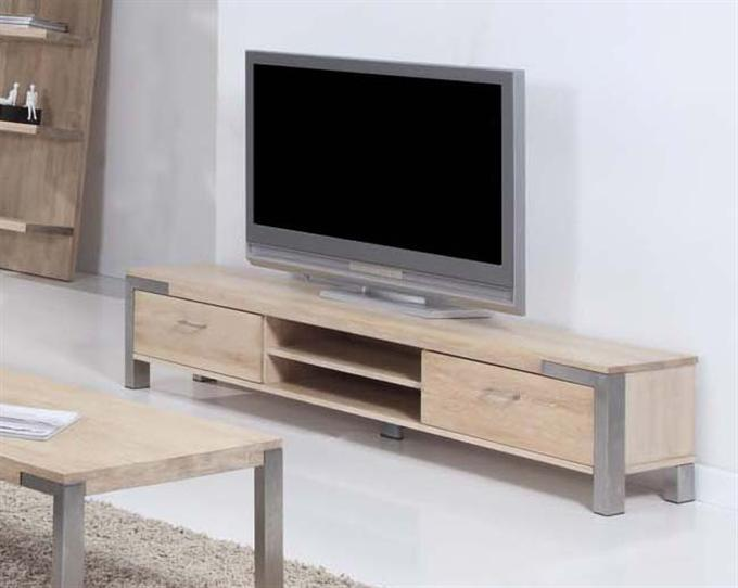palma tv bank lowboard eiche white wash edelstahl ebay. Black Bedroom Furniture Sets. Home Design Ideas