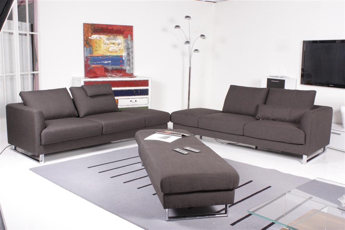 ewald schillig sofa tadeo stoff schwarz sofagarnitur inkl hocker ebay. Black Bedroom Furniture Sets. Home Design Ideas