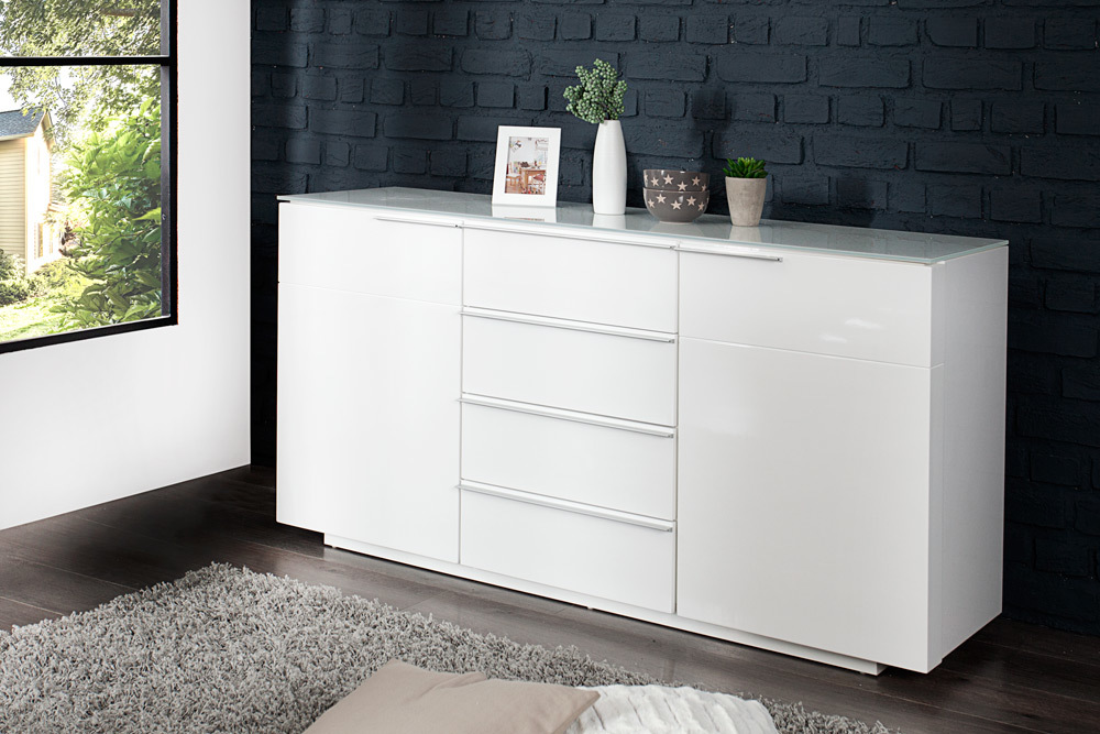 sideboard canberra mca hochglanz wei 145cm mit glasplatte kommode schrank ebay. Black Bedroom Furniture Sets. Home Design Ideas