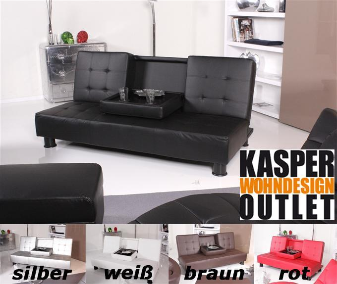 kasper wohndesign schlafsofa lounge bettsofa new loft lederimitat schwarz ebay. Black Bedroom Furniture Sets. Home Design Ideas