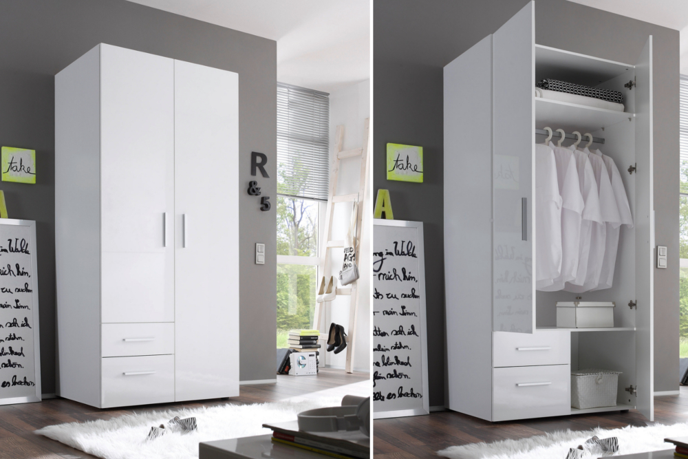 kleiderschrank nashville 90cm wei hochglanz garderobenschrank mit schubladen ebay. Black Bedroom Furniture Sets. Home Design Ideas
