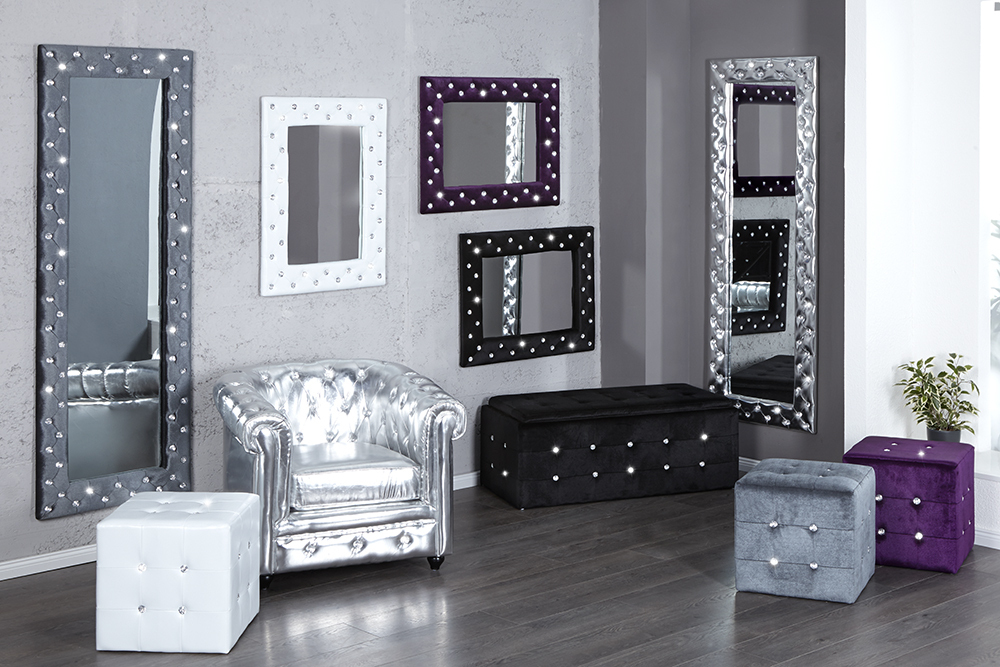 gro er wandspiegel boutique 80x60 weiss mit strasskn pfen spiegel. Black Bedroom Furniture Sets. Home Design Ideas