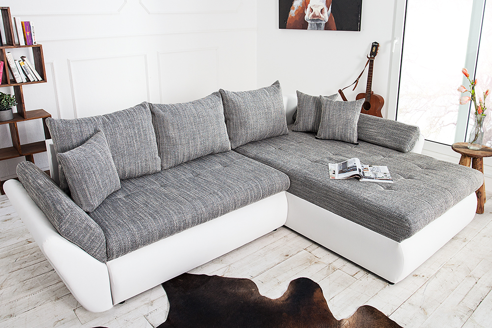 ecksofa rodeo weiss strukturstoff grau sofa schlaffunktion. Black Bedroom Furniture Sets. Home Design Ideas