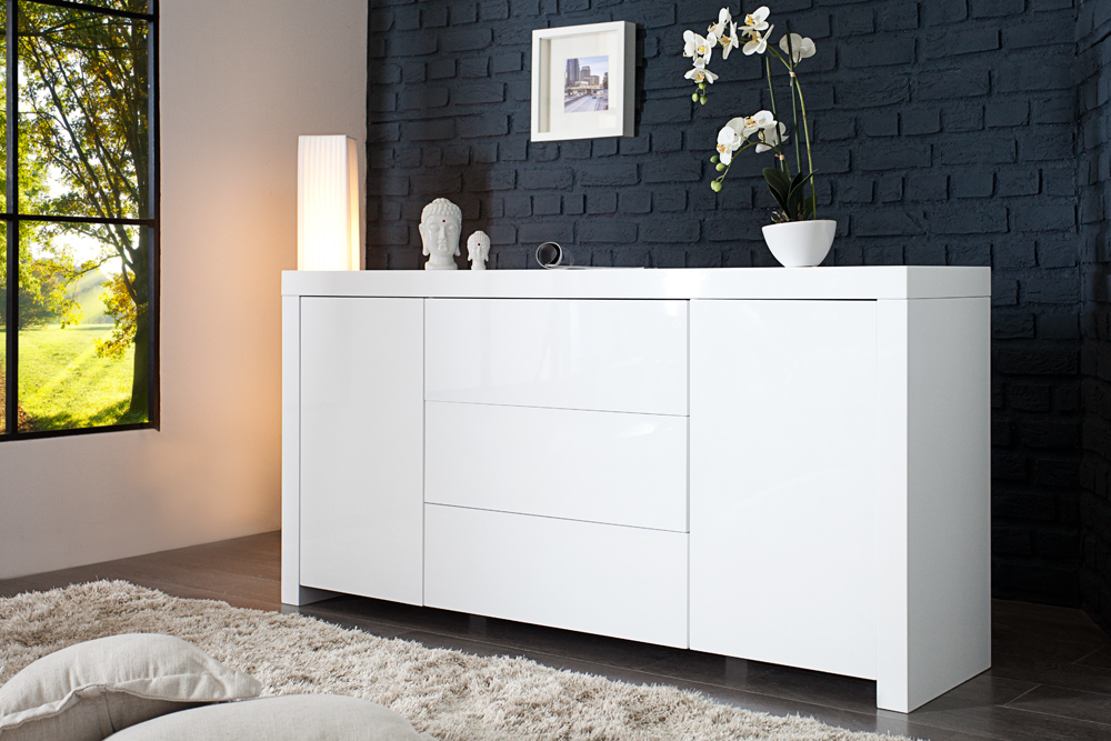 design sideboard eisberg wei hochglanz 160cm board kommode schrank ebay. Black Bedroom Furniture Sets. Home Design Ideas