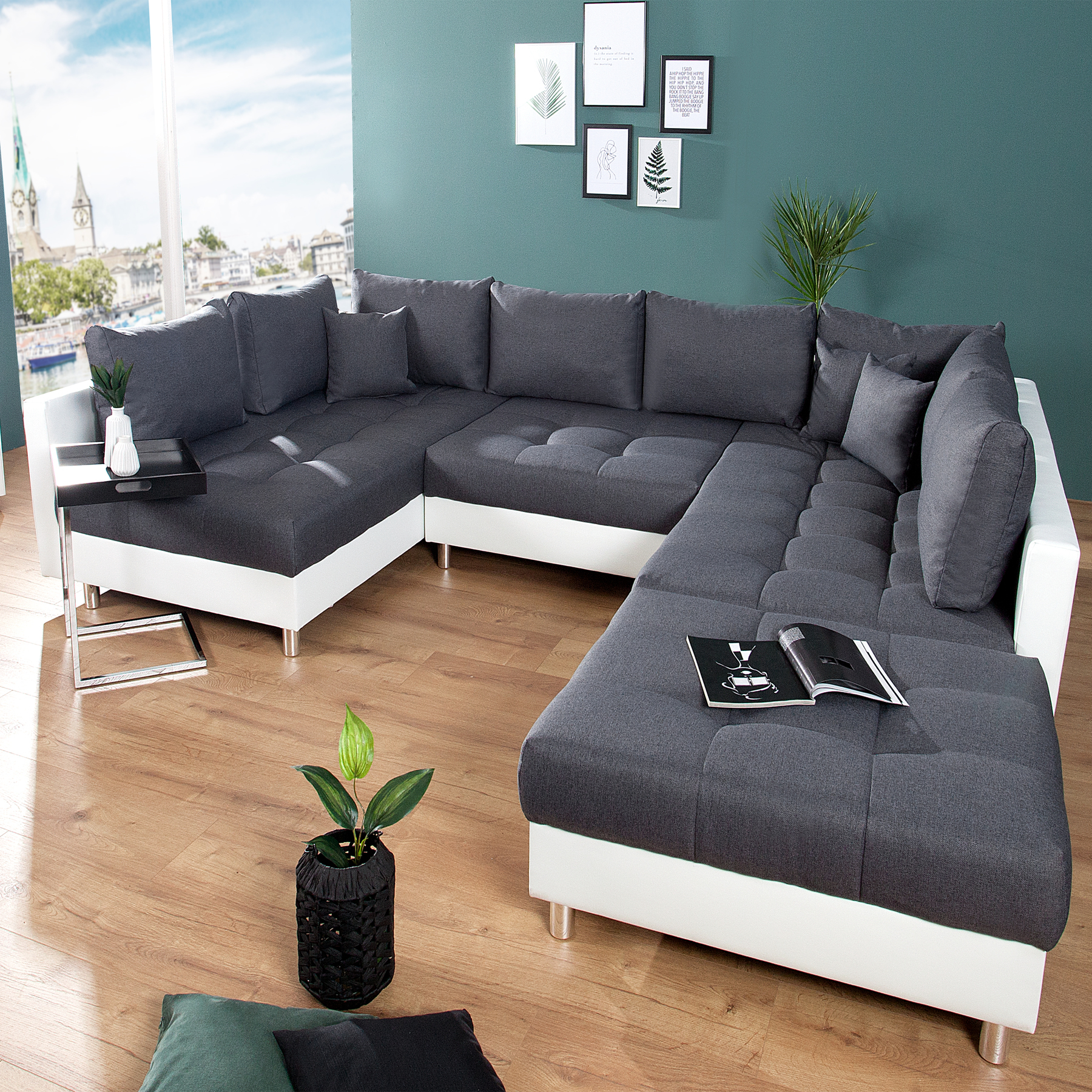 xxl wohnlandschaft kent 305 cm inkl hocker couch sofa wohnlandschaft u sofa ebay. Black Bedroom Furniture Sets. Home Design Ideas