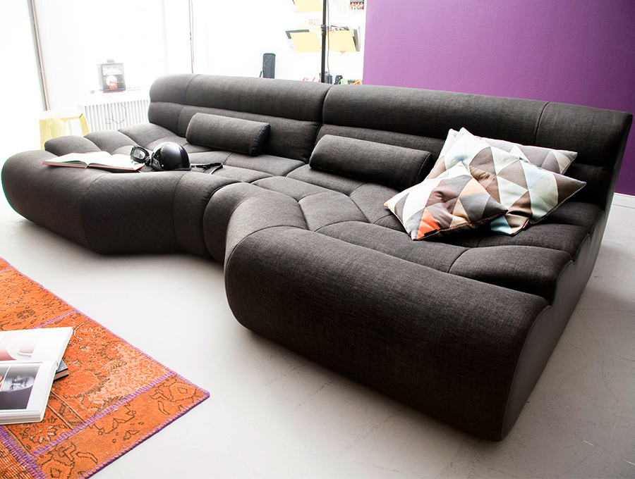 big sofa tara wohnlandschaft stoff grau mit kissen ebay. Black Bedroom Furniture Sets. Home Design Ideas