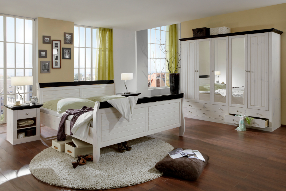 komplett schlafzimmer monaco kiefer massiv holz weiss dunkel massivholz landhaus ebay. Black Bedroom Furniture Sets. Home Design Ideas