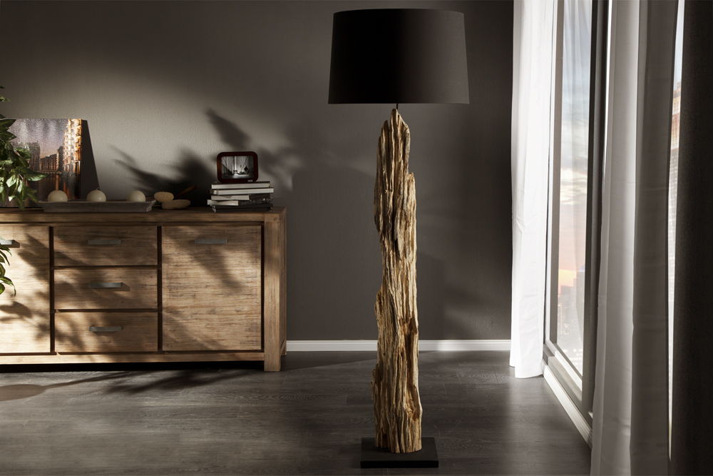 riesige design stehlampe rousilique 175 cm schwarz treibholz lampe treibgut holz ebay. Black Bedroom Furniture Sets. Home Design Ideas