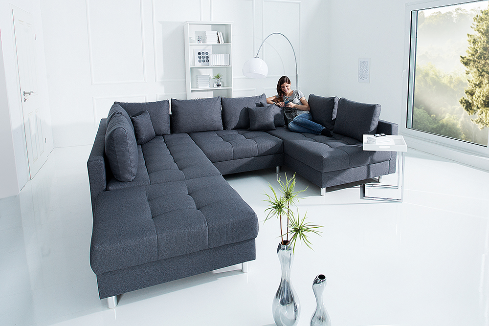 xxl wohnlandschaft kent 305cm anthrazit inkl hocker couch. Black Bedroom Furniture Sets. Home Design Ideas