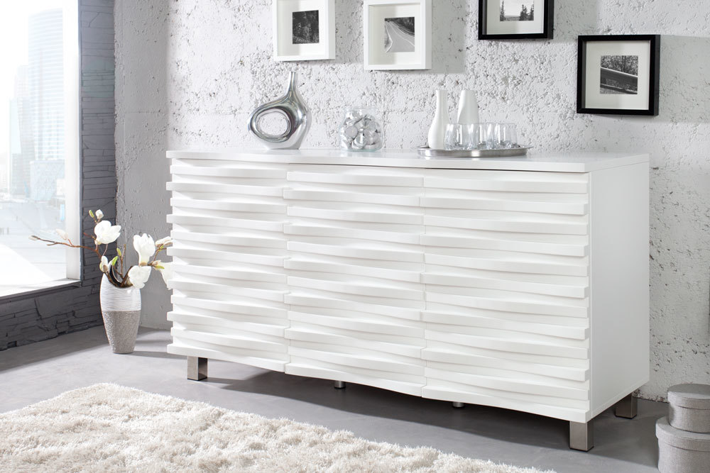 elegantes design sideboard craze 150cm weiss matt kommode schrank wohnzimmer ebay. Black Bedroom Furniture Sets. Home Design Ideas