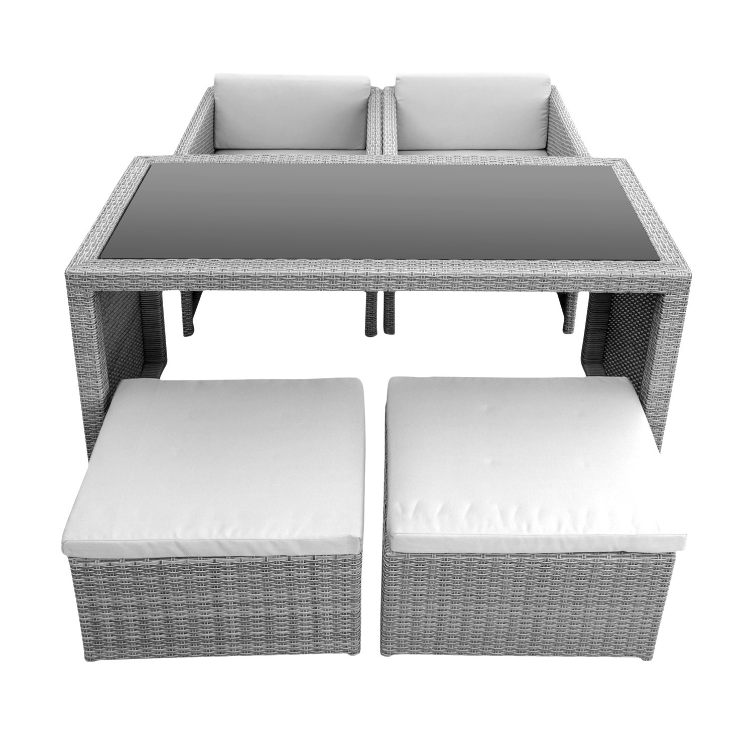 anndora bethari polyrattan gartenm bel hocker sessel tisch kissen grau ebay. Black Bedroom Furniture Sets. Home Design Ideas