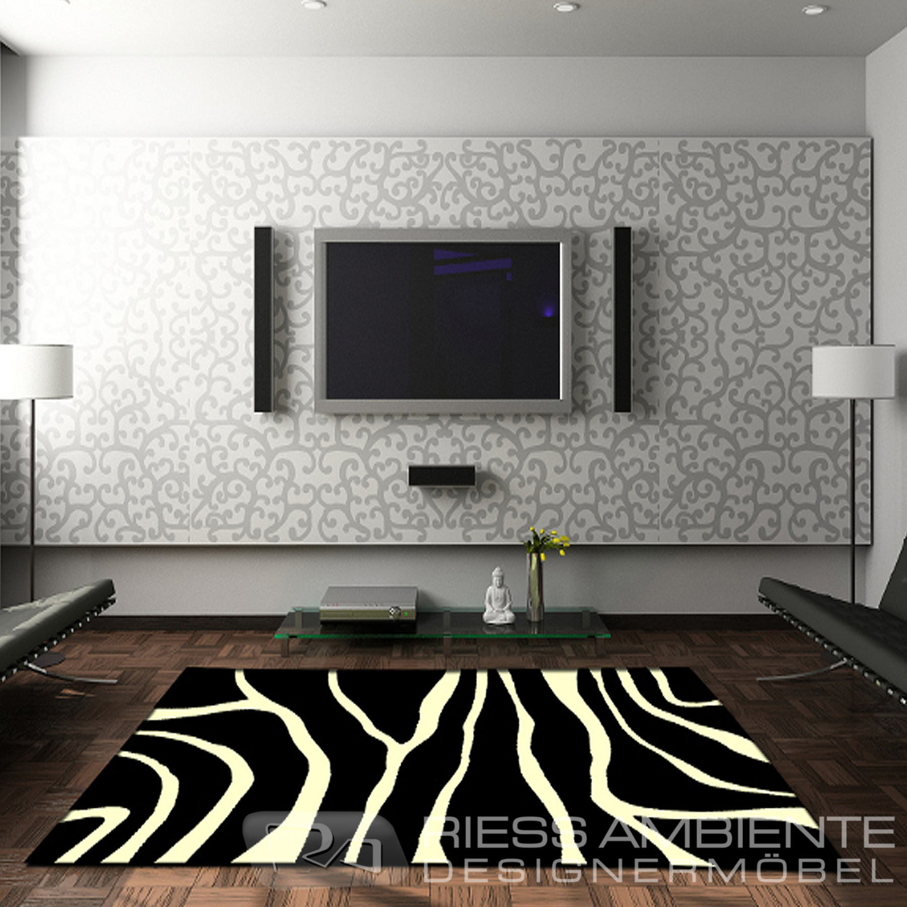 design teppich zebra 160 x 230 schwarz weiss afrika. Black Bedroom Furniture Sets. Home Design Ideas