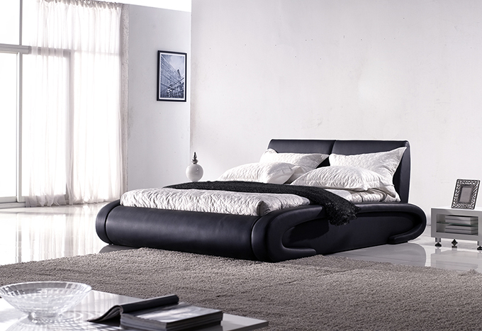 luxus bett mars 160 x 200 cm schwarz ebay. Black Bedroom Furniture Sets. Home Design Ideas
