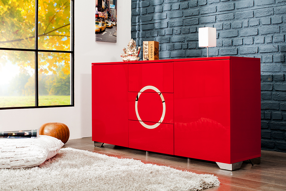 sideboard zen hochglanz rot 160cm mit edelstahl applikationen schrank board ebay. Black Bedroom Furniture Sets. Home Design Ideas