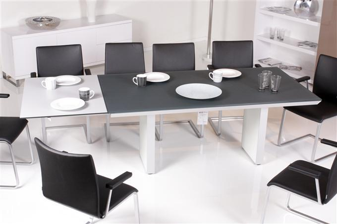 ronald schmitt k 2320 e esstisch 180 245 x 95 cm glas anthrazit ebay. Black Bedroom Furniture Sets. Home Design Ideas