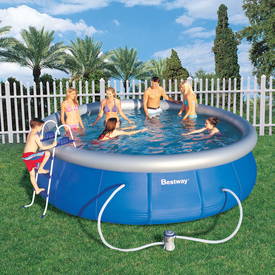 Bestway fast set quick up pool 457x122 cm schwimmbecken ebay for Pool 457x122 mit sandfilteranlage