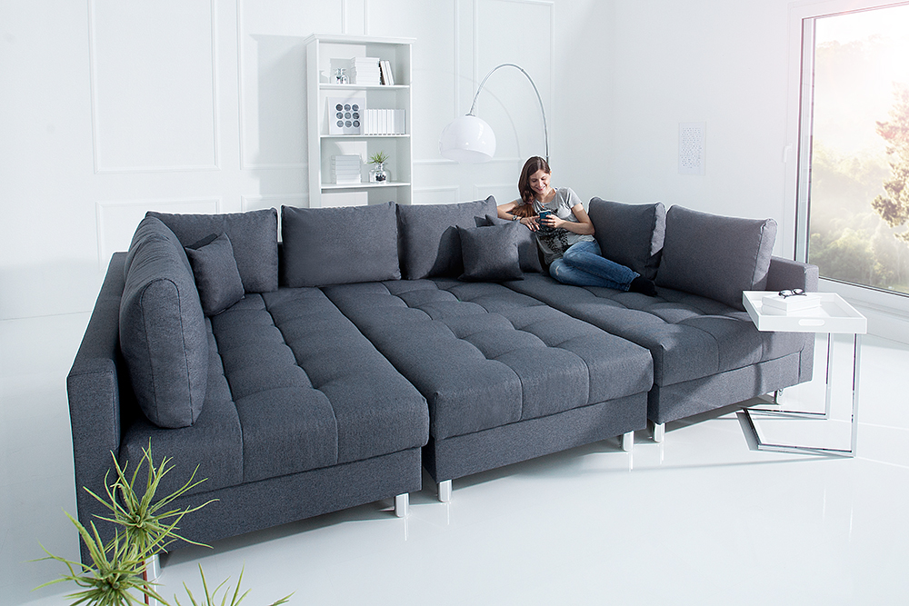 xxl wohnlandschaft kent 305cm anthrazit inkl hocker couch sofa u sofa ebay. Black Bedroom Furniture Sets. Home Design Ideas