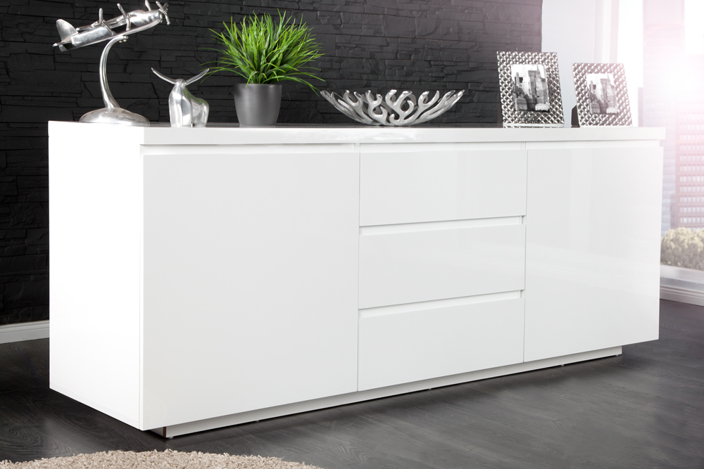 modernes design sideboard x7 190cm wei hochglanz finish kommode schrank ebay. Black Bedroom Furniture Sets. Home Design Ideas